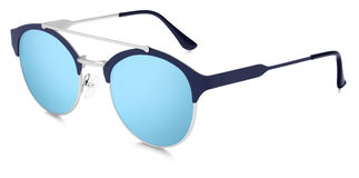 Silver sunglasses blue mirror lenses isolated on white backgroun Royalty Free Stock Photo