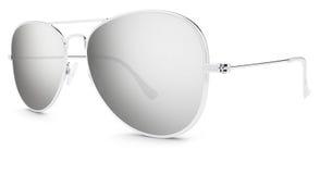 Silver sunglasses gray mirror lenses isolated on white Stock Photos