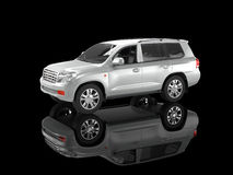 Silver SUV on black reflective background Stock Photo