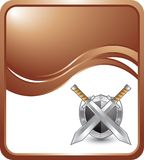 Silver swords and shield on bronze wave backdrop Stock Images