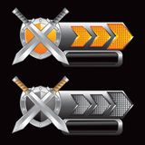 Silver swords and shield on gold and silver arrows Stock Photo