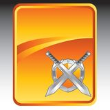 Silver swords and shield on orange background Stock Photos