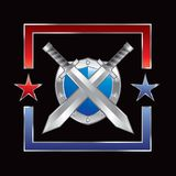 Silver swords and shield in red and blue star Royalty Free Stock Photo