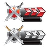 Silver swords and shield on red and silver arrows Stock Images