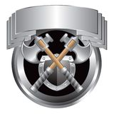 Silver swords and shield in silver crest Stock Photos