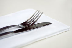 Silver Table Wear and Napkin Stock Image
