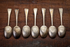 Silver tablespoons with patina Royalty Free Stock Images