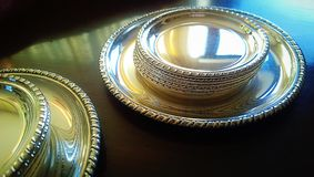 Silver tableware, wine and glass coasters Royalty Free Stock Photo