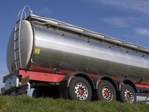 Silver tanker. Silver semitrailer truck hanger with six wheels royalty free stock image