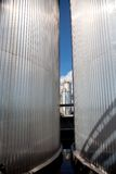 Silver tanks. In chemical factory Royalty Free Stock Image