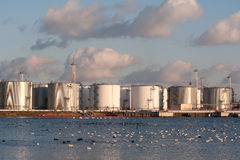 Silver tanks at the sunset Stock Photography