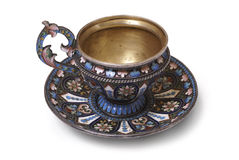 Silver tea cup in plique-a-jour style Royalty Free Stock Images
