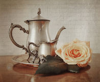 Silver tea set with retro vintage Instagram style effect. Silver tea set with retro vintage Instagram style filter effect stock photos
