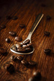 Silver teaspoon filled with roasted cofee beans Stock Photo