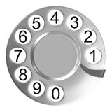 Silver telephone disc isolated Stock Photos