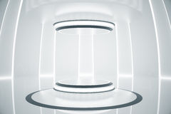 Silver teleport. Abstract silver teleportation station. Future concept. 3D Rendering Stock Images