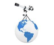 Silver Telescope on Tripod over Earth Globe Royalty Free Stock Image