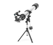Silver Telescope on Tripod. Over white background Royalty Free Stock Image
