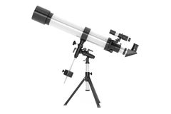 Silver Telescope on Tripod Royalty Free Stock Photos