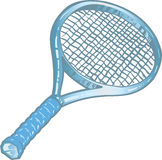 Silver tennis racket illustration Stock Images