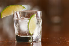 Silver tequila on the rocks Stock Photo