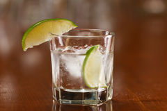 Silver tequila on the rocks Stock Photography