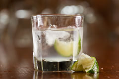 Silver tequila on the rocks Royalty Free Stock Image