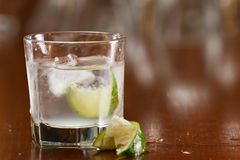 Silver tequila on the rocks Stock Photos