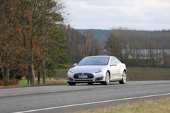 Silver Tesla Model S Electric Car On the Road Stock Image