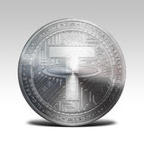 Silver tether coin isolated on white background 3d rendering. Illustration Royalty Free Stock Photography