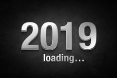 Silver text of 2019 on black concrete wall.New year concept stock photos