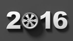 Silver 2016 text with car wheel rim Stock Photography