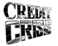 Silver Text the credit crisis on a white background. 3d illustration. Silver Text the credit crisis on a white background Royalty Free Stock Photos
