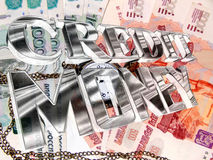 Silver text of credit money on the background of Russian money Royalty Free Stock Photo