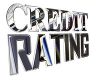 Silver text credit rating on a white background Stock Images