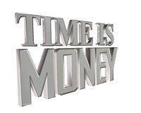 Silver text of time is money on a white background. 3d illustration. Silver text of time is money on a white background Royalty Free Stock Photo