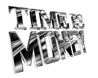 Silver text of time is money on a white background. 3d illustration. Silver text of time is money on a white background Royalty Free Stock Photography