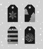 Silver textured festive gift tags Royalty Free Stock Images