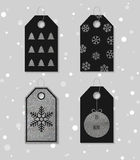 Silver textured festive gift tags. Collection of four silver texture Christmas and New Year gift tags. Set of festive gift tag, sticker, label. Template for Stock Image