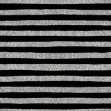 Silver textured seamless pattern of stripes. On a black background. Design element for banner, card, cutaway, invitation, postcard, booklet, flyer. Vector Stock Photos