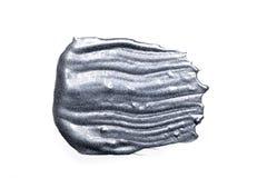 Silver texturerad målning på vit bakgrund Textur av vit silver Royaltyfri Bild