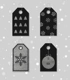 Silver texturerade festliga gåvaetiketter Fotografering för Bildbyråer