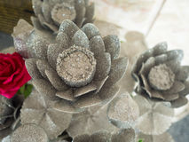 Silver thai lotus Royalty Free Stock Images