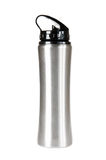 Silver thermos. Against a white background Stock Images