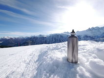 Silver thermos flask slope Stock Photos