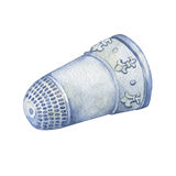 Silver Thimble Decorated with Fleur de Lis. Hand drawn watercolor painting on white background Stock Images