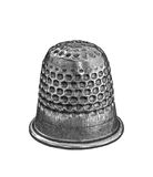 Silver Thimble. Isolated on white Royalty Free Stock Photo