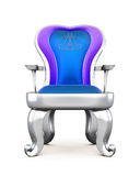Silver throne with blue upholstery. Royalty Free Stock Photography