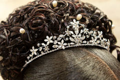Silver Tiara. A bride with a silver diamond tiara on her head Royalty Free Stock Photo