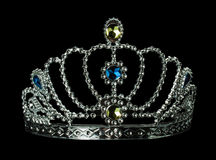 Silver tiara on the black background Royalty Free Stock Photo